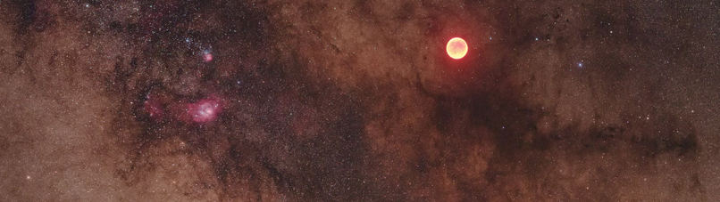 Eclipsed Moon in the Milky Way